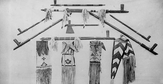 Traditional Blackfoot items. (Photo courtesy of Glenbow Museum Archives NA-668-62)