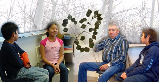 Bryce and Laney sharing stories with the class. Japheth listens closely to Elder Adam Delaney's plant stories.