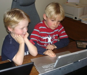 two boys on the computer