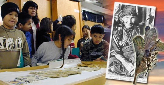 Students examine cultural artifacts from the Glenbow Museum. The root of this plant can be dried and snuffed to cure headaches. (Glenbow Museum. (2005). Nitsitapiisinni Exhibit. Calgary, Alberta: Blackfoot Gallery Committee) (Photo courtesy of Glenbow Museum Archives NA-5579-38)