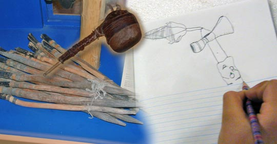 Pegs used to hold down the tipi, a mallet used to crush chokecherries and a student drawing an artifact. (Glenbow Museum. (2005). Nitsitapiisinni Exhibit. Calgary, Alberta: Blackfoot Gallery Committee.)