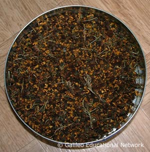 Crushed red tea ready for making tea.
