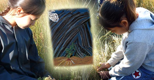 Laney and Sommer harvesting Wild Mint. A pastel drawing by Marvin.